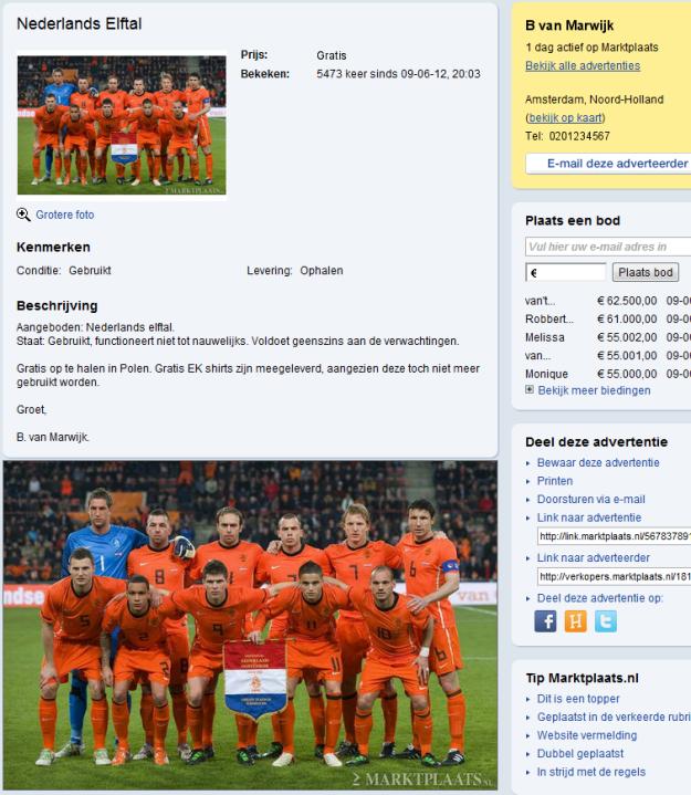 Te koop aangeboden : Nederlands elftal