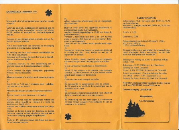 Prijzen Camping de Rosep 1985 bij Ton Haverkamp 001
